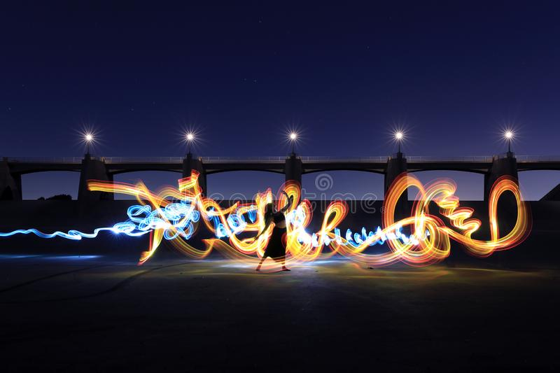 Long Exposure Light Painted Imagery With Color royalty free stock images