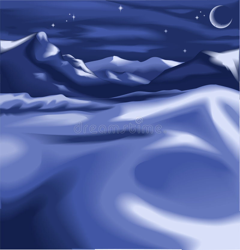 A night time winter scene. Beautiful snowy night time winter landscape scene, with the moon and stars. No meshes used royalty free illustration