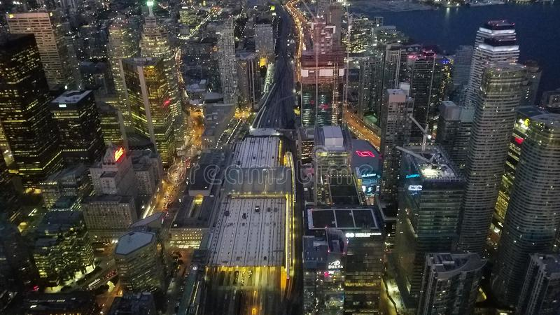 Night top view at downtown of Toronto. Aerial Night view at Toronto downtown from CN Tower in day time in Ontario, Canada royalty free stock image