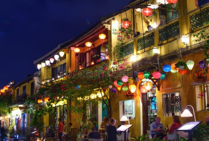Night tourist street with a lot of flashlights stock photos