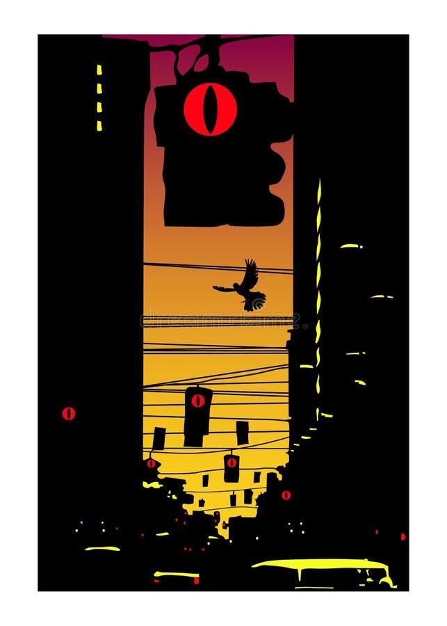 Night_town stock de ilustración