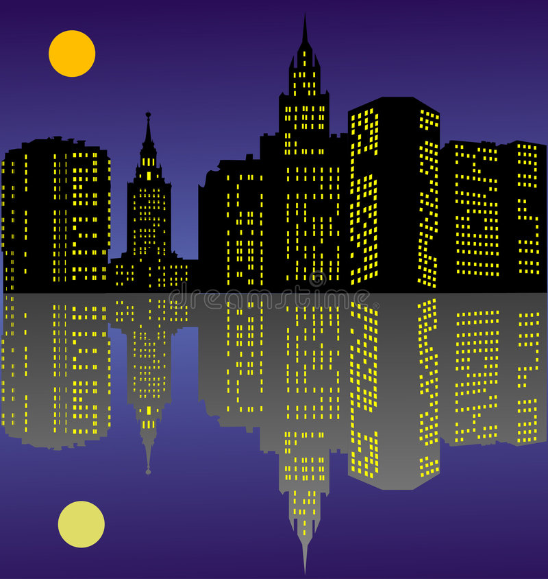 Download Night town with reflection stock illustration. Image of land - 6903964