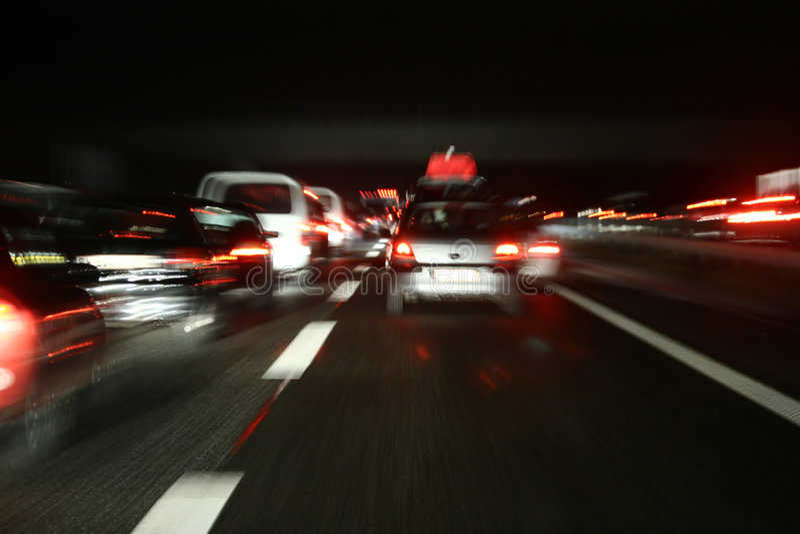 Night traffic stock image