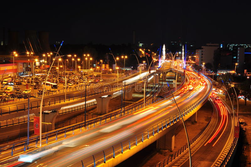 Download Night Traffic On Basarab Bridge, Bucharest Editorial Image - Image: 21643100
