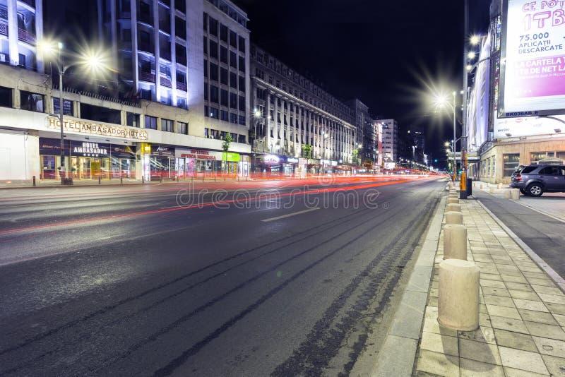 Night traffic in Bucharest royalty free stock image