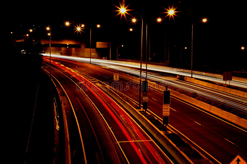 Night traffic in the city. Long exposure of busy traffic motorway stock photography