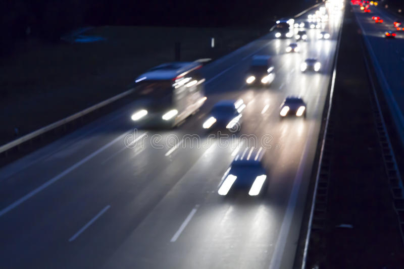 Night traffic on a german highway royalty free stock photos