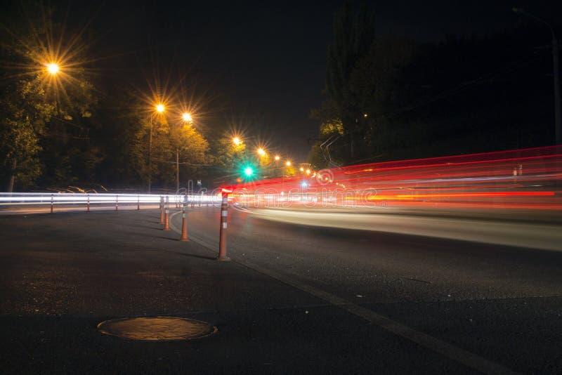 Night traffic at highway at night royalty free stock photo
