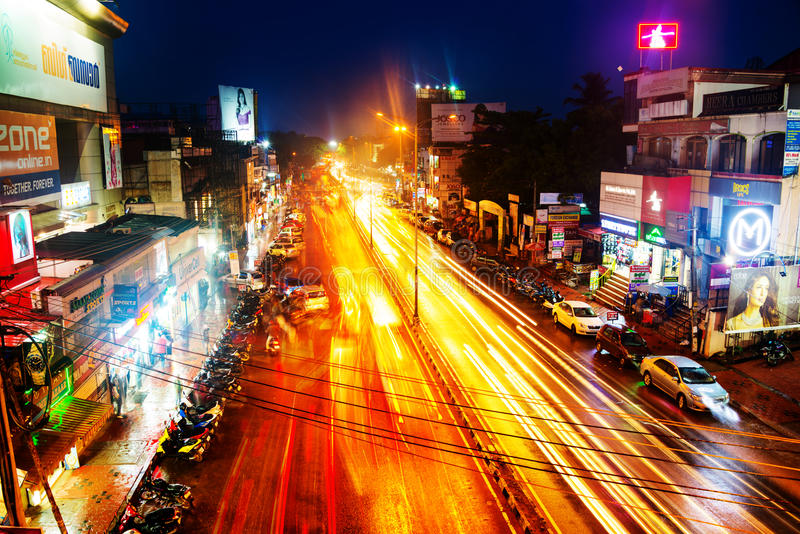 Night traffic lights in the center of Trivandrum, Kerala, India. TRIVANDRUM, INDIA - MAY 15, 2016: Night traffic lights in the center of the capital of Kerala royalty free stock image