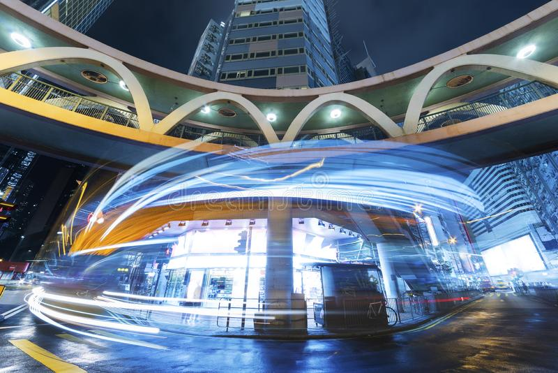Night traffic in midtown. Of Hong Kong City royalty free stock photo