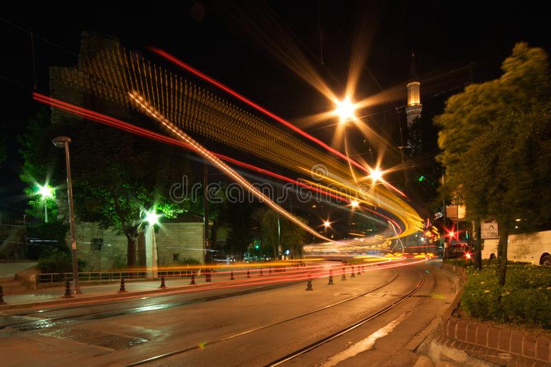Night Traffic in Motion royalty free stock photo