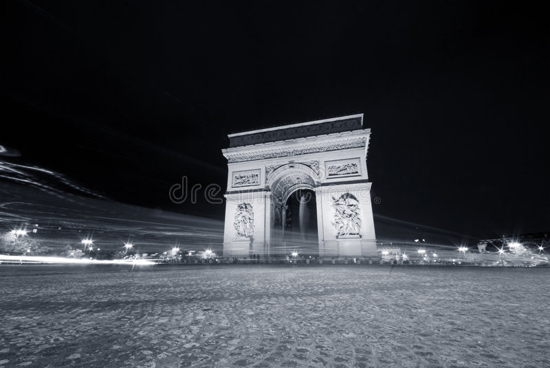 Night Traffic in Paris royalty free stock image