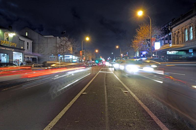 Night traffic on Ponsonby road Auckland New Zealand royalty free stock images