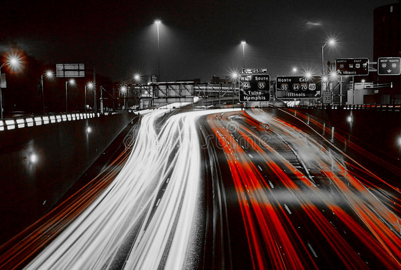 Night Traffic, St. Louis, MO. St. Louis, traffic speeds up and down the highway. (Image taken from color slide stock photos