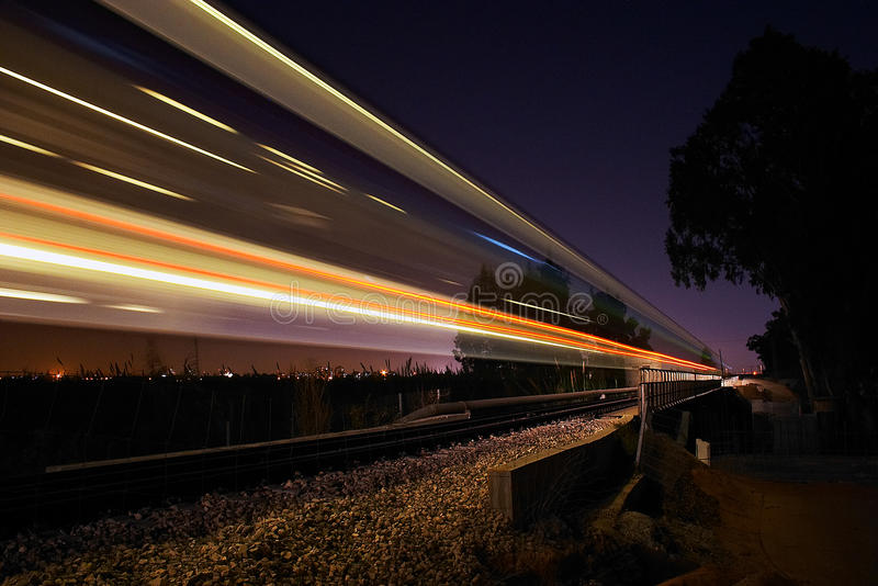 Night Train. Over the rails stock photos