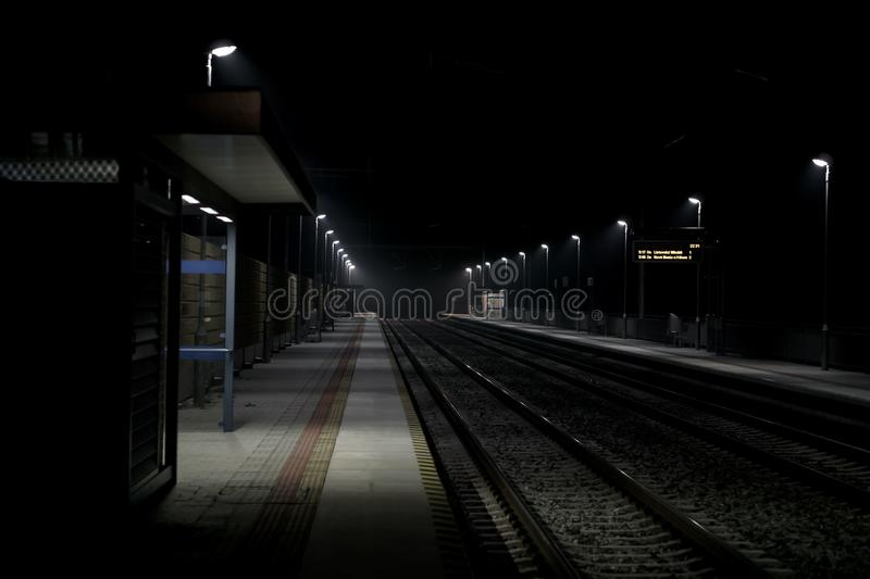 Night Train. Abandoned and Night Train station stock images