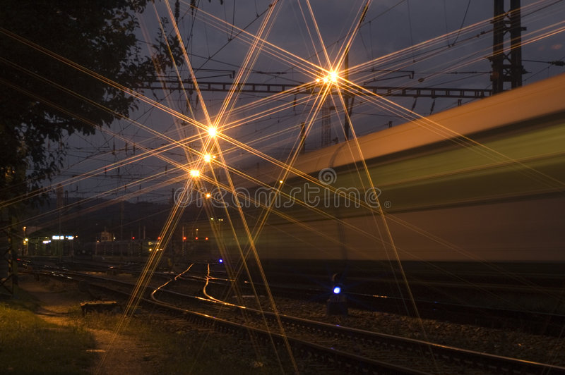 Night train departure. Night train departing from the station stock photography