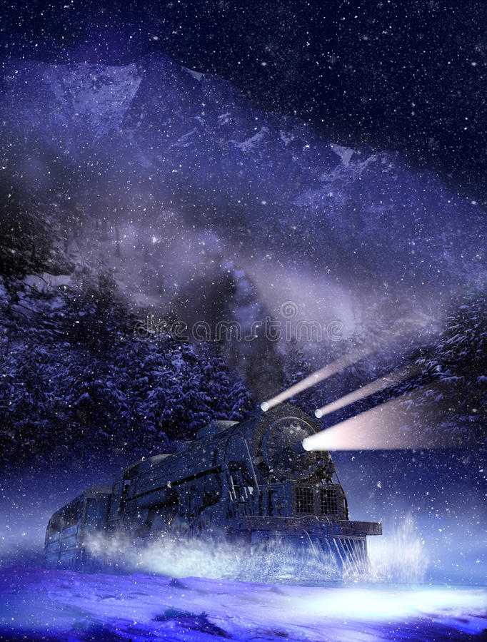 Night train vector illustration