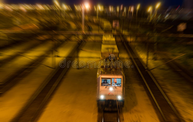 Night train. Passing by in the night royalty free stock images