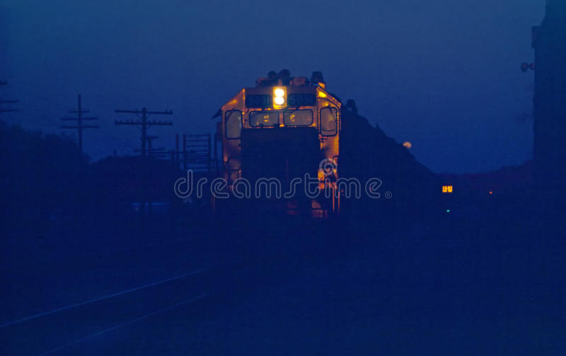Night Train. At Railroad Station royalty free stock photography