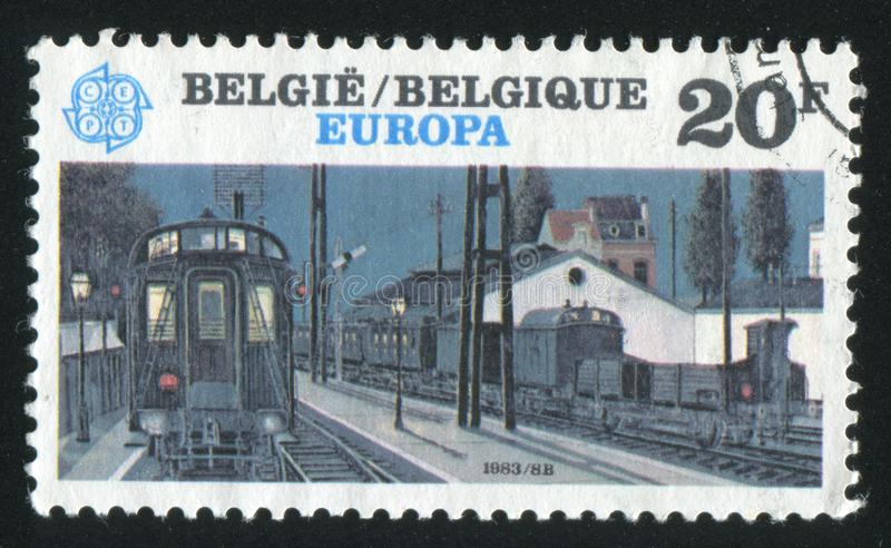 Night Train. RUSSIA KALININGRAD, 19 OCTOBER 2015: stamp printed by Belgium, shows Night Train, circa 1983 stock photo
