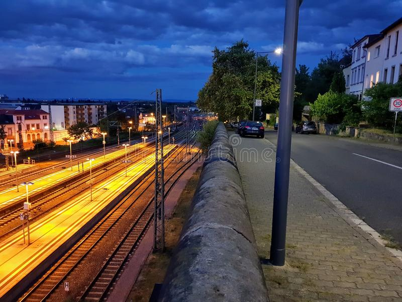 Night at a train station. HDR night train station stock photo