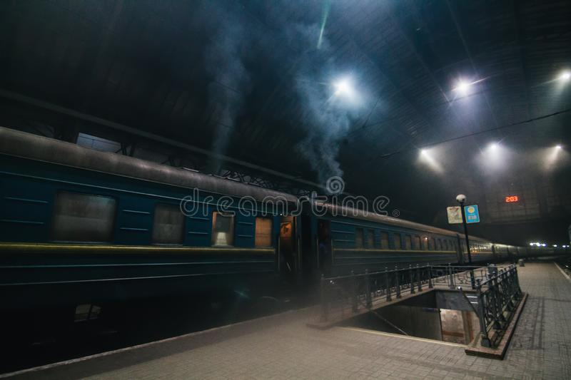 Night train at station. In Lviv, Ukraine royalty free stock images