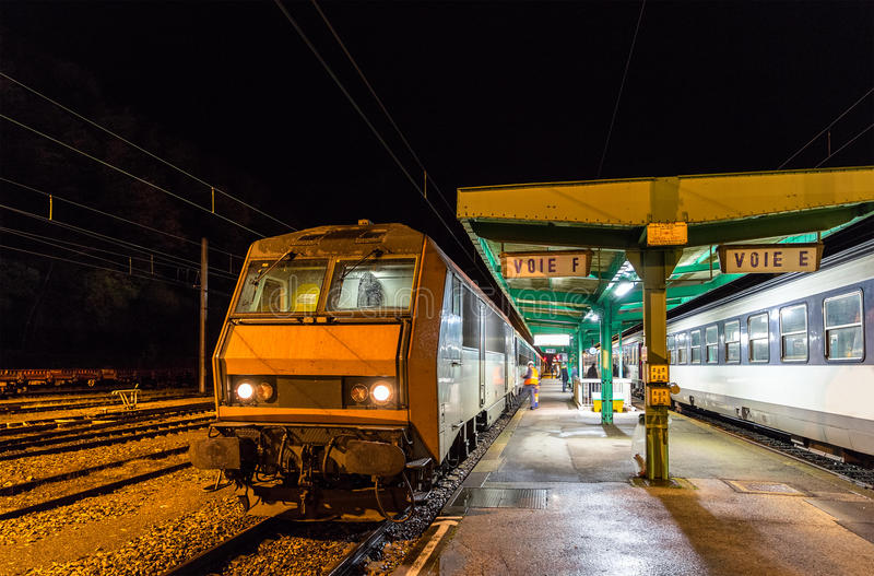 Night train to Nice in Culmont-Chalindrey station. France stock photography