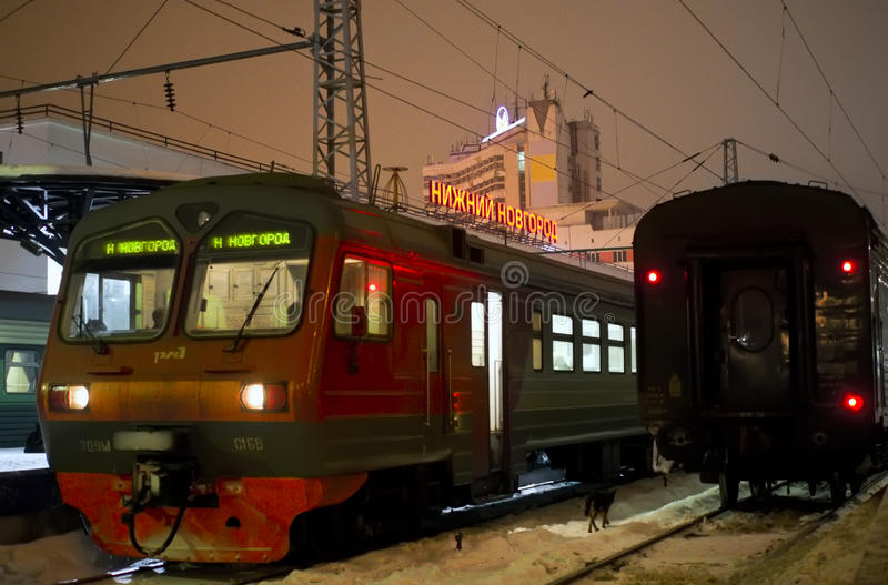 Night trains at platform at train station in Nizhny Novgorod royalty free stock photography
