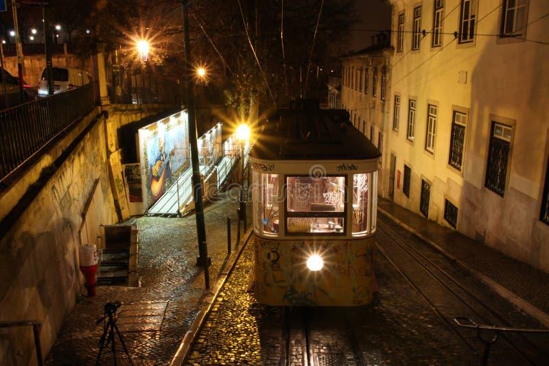 Night tram stock photo