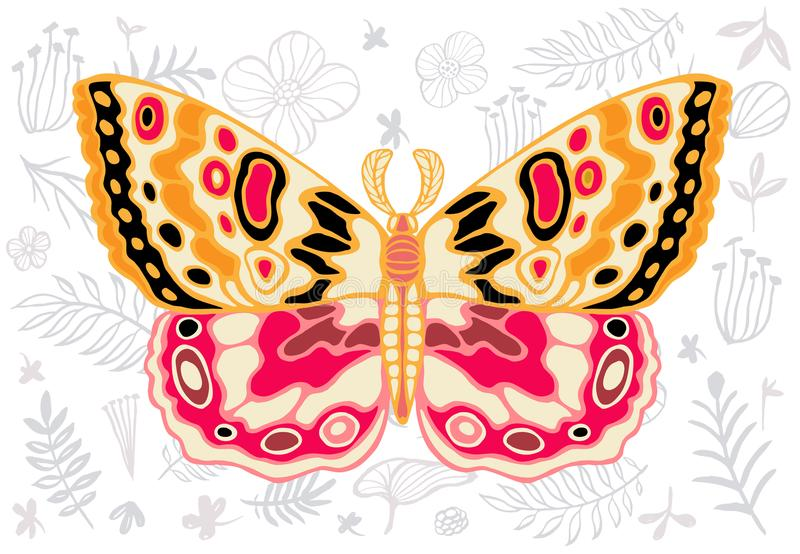 Night tropical moths hawkmoth on floral background, butterfly vector insect, vintage style, wings, flowers, skull, leaves. Night tropical moths hawkmoth on stock illustration