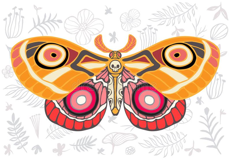 Night tropical moths hawkmoth on floral background, butterfly vector insect, vintage style, wings, flowers, skull, leaves. Night tropical moths hawkmoth on royalty free illustration