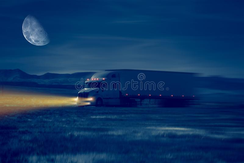 Night Truck Drive. In Desert Area. Trucking Concept Illustration royalty free illustration