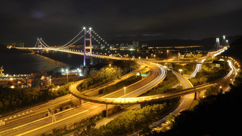 Night of Tsing Ma Bridge royalty free stock photo