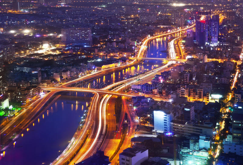 Night Urban City Skyline, Ho Chi Minh City, Vietnam royalty free stock photography