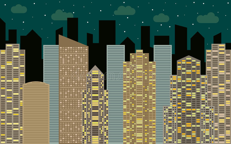 Night urban landscape. Street view with cityscape, skyscrapers and modern buildings. At sunny day. City space in flat style background concept vector illustration