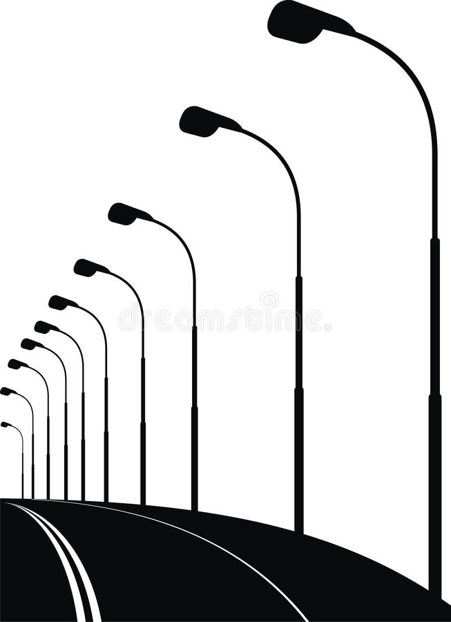 Night urban street (bridge) vector illustration