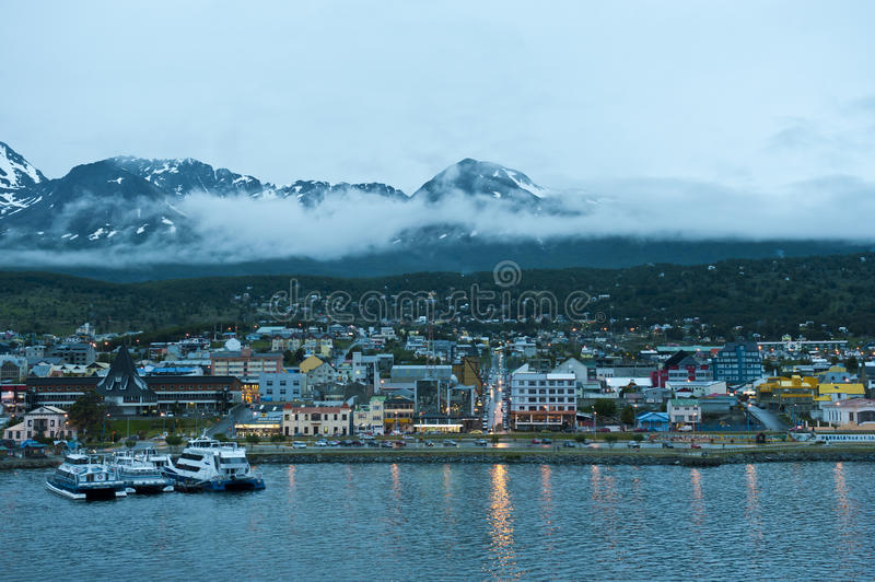Night in Ushuaia, Capital of Tierra del Fuego, Patagonia, Argentina. Night in Ushuaia, Patagonia, Argentina is known as the most southern city of the world. Most stock photos