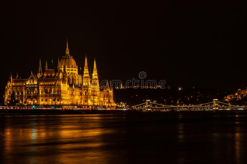 Night vibe in Budapest stock image