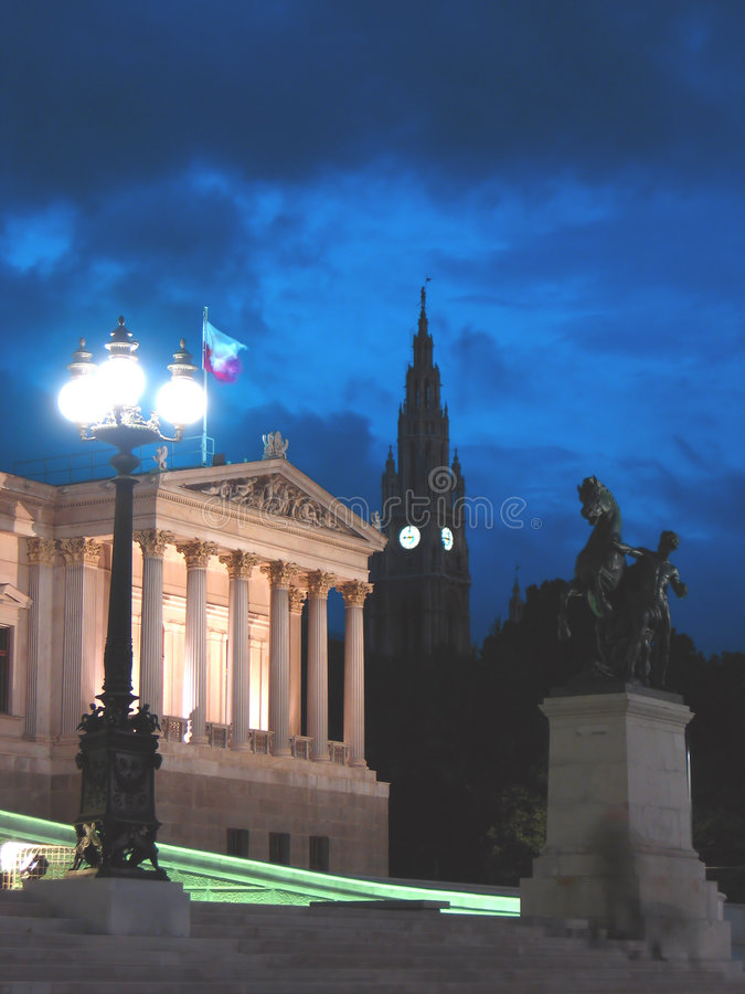 Download Night in Vienna stock photo. Image of parliament, government - 1496758
