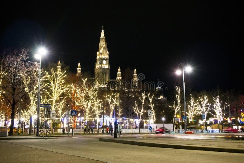 Night Vienna with Christmas Market stock photos