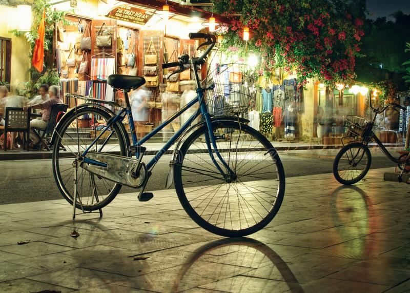 Bicycles on the night street royalty free stock images