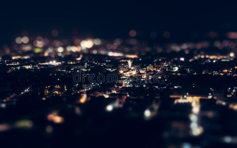 Night view above phuket town stock photo