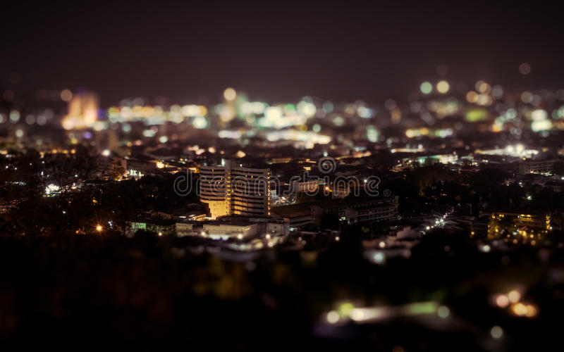 Night view above phuket town stock photography