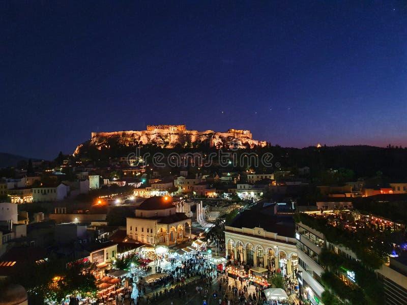Night view of Acropolis over Moanstiraki square royalty free stock photography