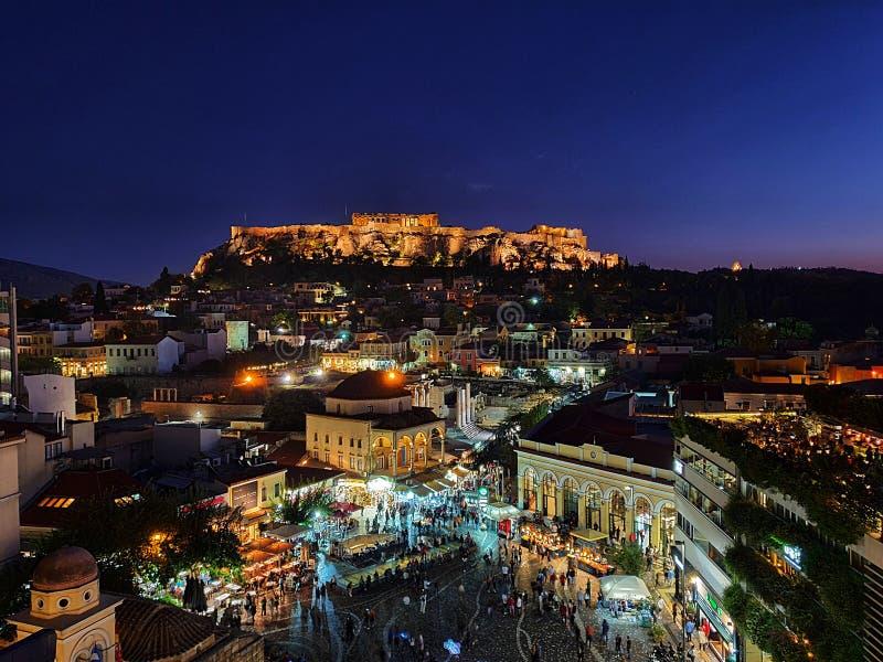Night view of Acropolis over Moanstiraki square royalty free stock image