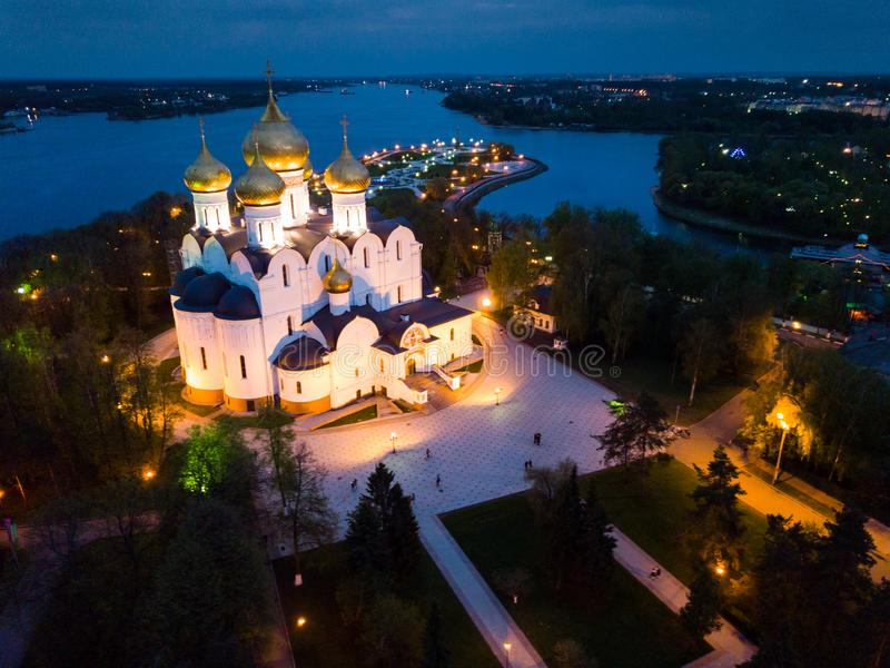 Night view aerial view of Assumption Cathedral at Yaroslavl. Russia stock images