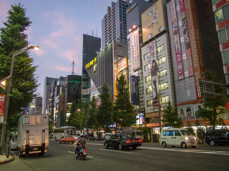 Night View of Akihabara Electric Town, Tokyo Japan. Akihabara 秋葉原, also called Akiba after a former local shrine, is a district in central royalty free stock photography