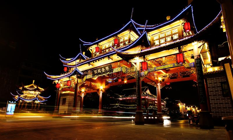 Night view of the ancient Chinese gate at Qintai Road historic district, Chengdu, Sichuan, People Republic of China royalty free stock image
