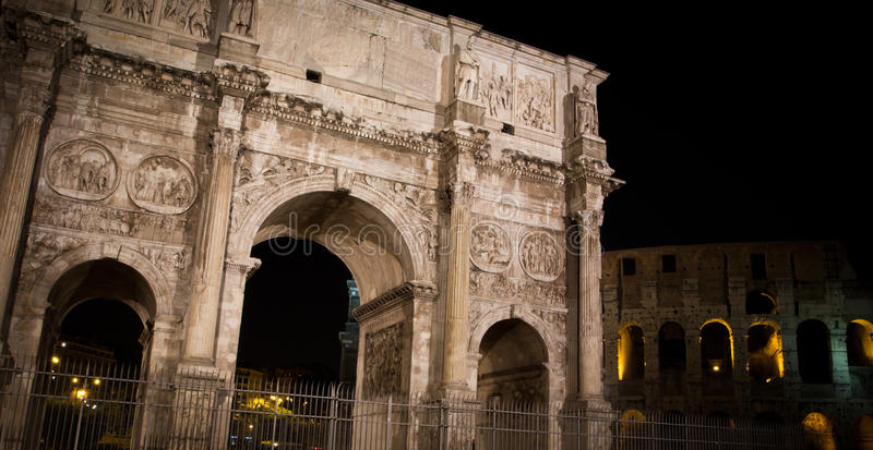 Night view of the Arch of Constantine, Rome. stock image